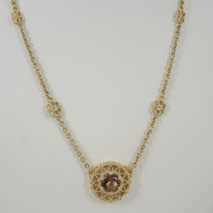 Judith Ripka 18K Yellow Gold .14tcw Cognac Quartz & Diamond Pendant Necklace