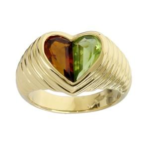 Bulgari 18K Yellow Gold Doppio Heart Tourmaline Peridot Ring