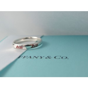 Tiffany & Co. Picasso Sterling Silver Red Enamel Graffiti Kiss Band Ring Size 5.5