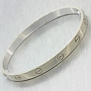 Cartier Love 18K White Gold Screw Bangle Bracelet Size 17