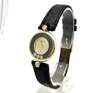 Chopard Happy Diamonds 18K Yellow Gold & Leather wDiamonds Quartz 21 mm Womens Watch
