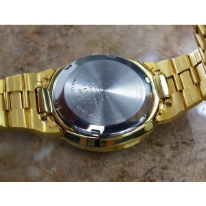 Seiko 5 6119 Gold Plated Stainless Steel Automatic 35mm Mens Watch 1970s