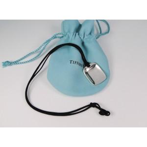 Tiffany & Co. Elsa Peretti 925 Sterling Silver Shovel Pendant Necklace on Black Silk Cord