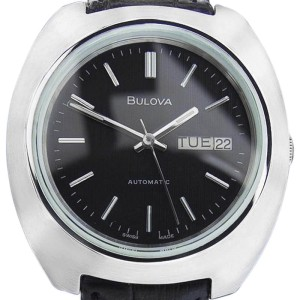 Bulova N6 Stainless Steel & Leather Automatic Vintage 38mm Mens Watch 1970s