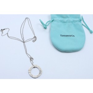Tiffany & Co. Atlas Sterling Silver Circle Roman Numeral Pendant Necklace
