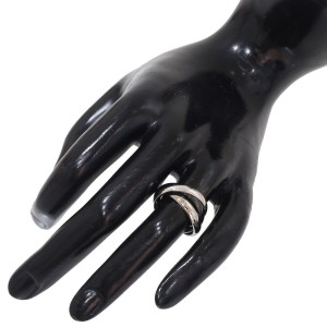 Cartier Trinity de Cartier 18K White Gold and Black Ceramic 3 Band Ring Size 4.5
