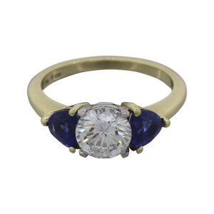 Tiffany & Co. 18K Yellow Gold and Platinum with 1.11ct. Diamond and 0.60ct. Sapphire Ring Size 5.5