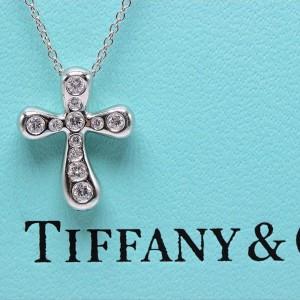 Tiffany & Co. Elsa Peretti Platinum with 0.20ctw. Diamond Cross Pendant Necklace