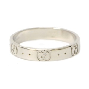 Gucci 18K White Gold Icon Ring Size 8.5