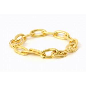 Cartier C De Chain Bangle Bracelet 750 Yellow Gold with Diamond