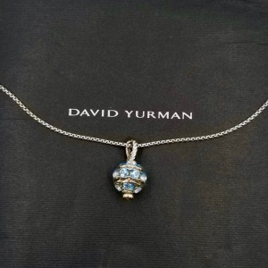 David Yurman Cable 925 Sterling Silver with Aquamarine Cable Choker Necklace