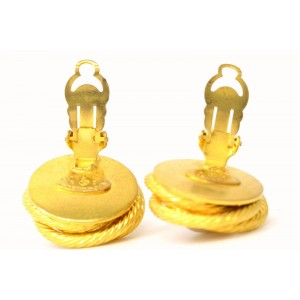 Chanel Vintage Gold Tone Hardware with Simulated Glass Pearl CC Coco Mark Round Earrings