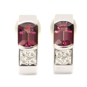 Tasaki 18K White Gold with Garnet and 0.12ctw Diamond Clip Earrings