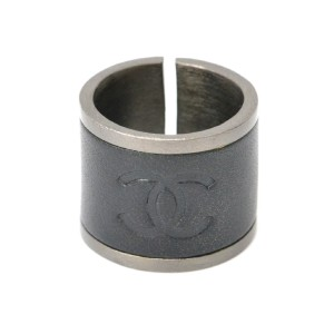 Chanel Black Stainless Steel and Leather Coco Mark Wide Band Ring Size 5.5