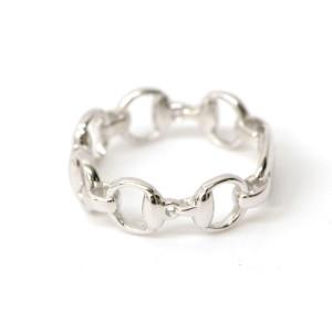 Gucci Horse 18K White Gold Bit Ring Size 7