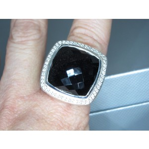 David Yurman Sterling Silver Onyx and Diamond Ring Size 8