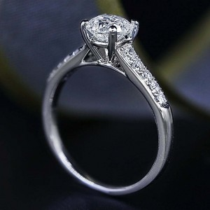 14k White Gold Engagement Ring Solitaire 1.08ctw Diamonds Size 7.5