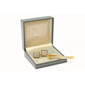 Dunhill Gold and Silver Tone Hardware Tie Clip Bar and Cufflinks Set