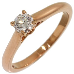 Cartier Solitaire 18K Rose Gold Diamond Ring Size 5