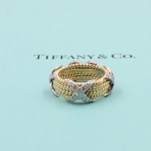 Tiffany & Co. 18K Yellow Gold Platinum Diamond Ring Size 4.75