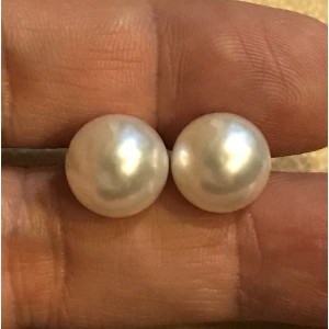 14k White Gold South Sea Cultured Pearl Earrings