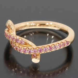 Cartier Entrelaces 8K Rose Gold Sapphire Ring Size 4.25