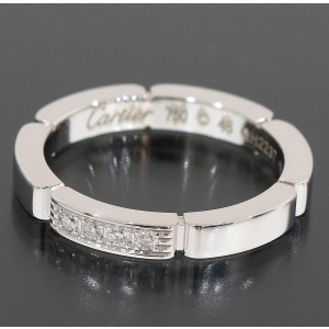 Cartier Panthere 18K White Gold Diamond Ring Size 4.75