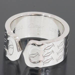 Cartier Double 18K White Gold Ring Size 4.5
