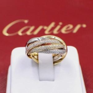 Cartier Trinity Wedding Ring 18k White Yellow Rose Gold Diamond