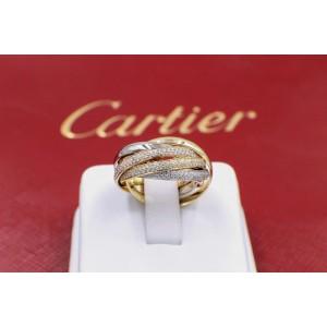 Cartier Trinity Wedding Ring 18K White Yellow & Rose Gold Diamond Size 8