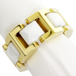 Versace 18K Yellow Gold Ceramic Ring Size 7.25