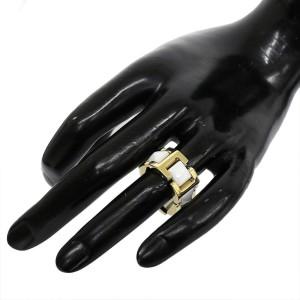 Versace 18K Yellow Gold Ceramic Ring Size 7.25