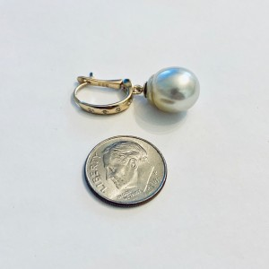 14k Yellow Gold South Sea Cultured Pearl & Diamond Earrings