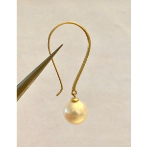 14k Yellow Gold South Sea Cultured Pearl Earrings