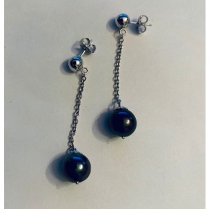 14k White Gold Tahitian Black Cultured Pearl Earrings