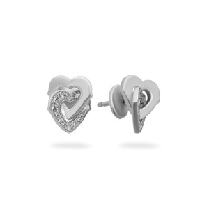 Cartier Interlocking Heart Earrings 18K White Gold Diamond