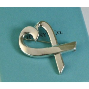 0f3815840aab1 Tiffany & Co Silver Paloma Picasso Loving Heart Brooch Pin Excellent  Condition