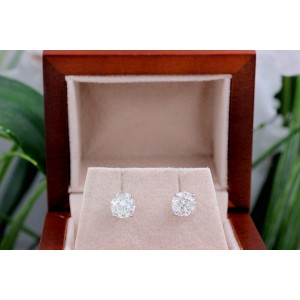 Round Diamond Solitaire Stud Earrings 2.03 tcw set in 14k White Gold