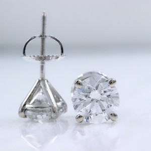Round Diamond Solitaire Stud Earrings 2.00 tcw in 14k White Gold $15,000 Retail