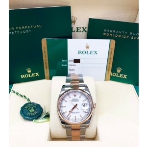 Rolex Datejust 116201 White Dial 18K Rose Gold & Stainless Steel Box Papers 2016