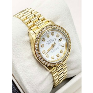 Rolex Ladies President DateJust 6917 Diamond Dial 18K Yellow Gold Mint Band