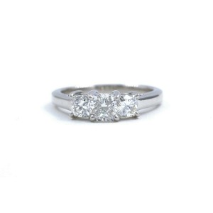 Blue Nile 3 Stone Platinum Diamond Engagement Ring Cushions0.96 tcw