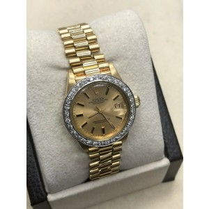 Rolex Ladies President Datejust 6917 Diamond Bezel 18K Yellow Gold