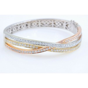 Tri-Color Round Diamond Bangle Bracelet 14 kt White Yellow Rose Gold 2.00 tcw