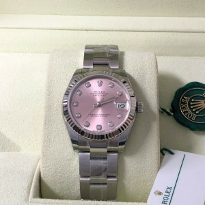 Women's Rolex DateJust Stainless Steel & White Gold w/ Pink Diamond Dial 178274