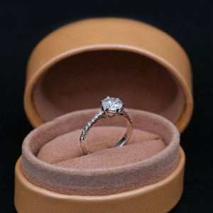 14k White Gold AGI Certified Engagement Ring with 1.45ct. Diamonds