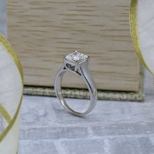 White Gold Engagement Ring with Solitaire 1.10ct. Princess Cut Diamond