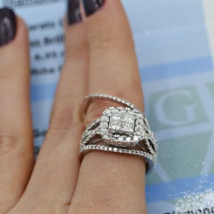 14k White Gold Engagement Ring SET with 1.75ct. Total Diamond Weight