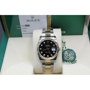 Rolex Datejust 116233 Black Diamond Dial 18K Yellow Gold & Stainless Steel