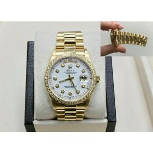Rolex President Day Date 18238 White Diamond Dial & Bezel 18K Yellow Gold MINT